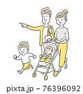 ベクターイラスト素材:家族、ベビーカー、お出かけ 76396092