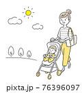 ベクターイラスト素材:ベビーカーで外出する若いお母さん 76396097
