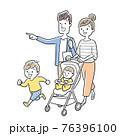 ベクターイラスト素材:家族、ベビーカー、お出かけ 76396100