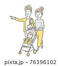 ベクターイラスト素材:家族、ベビーカー、お出かけ 76396102