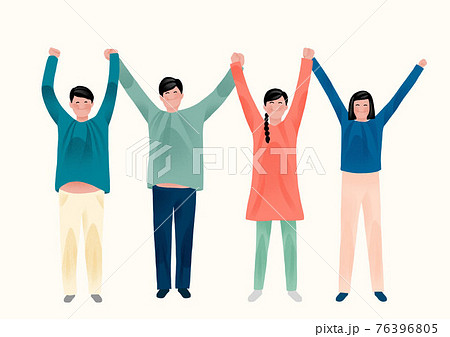 together towards peaceful and happy society, holding hands together 76396805