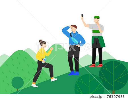 young generation hiking, trekking mountains 76397983