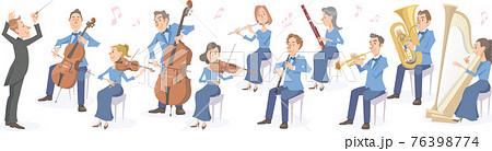 指揮者とクラシックの演奏家たち。様々な楽器で演奏するオーケストラ。 76398774