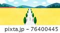 couple walking in yellow fields 76400445