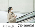 Asian woman on escalator with face masks 76400936