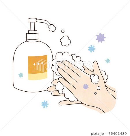 手洗い 泡ハンドソープ ウィルスと両手 76401489