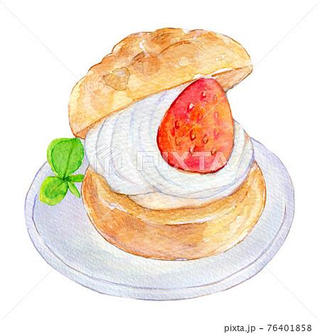 水彩イラスト 苺シュークリーム 76401858