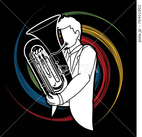 Tuba Musician Orchestra Instrument Graphic Vector 76401902
