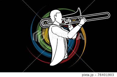 Trombone Musician Orchestra Instrument Graphic Vector 76401903