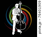 Double Bass Musician Orchestra Instrument Graphic Vector 76401909