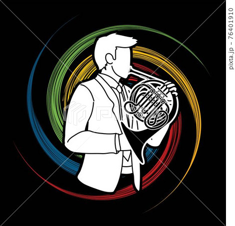 French Horn Musician Orchestra Instrument Graphic Vector 76401910