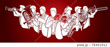 Group of Musician Orchestra Instrument Cartoon Graphic Vector 76401912