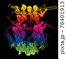 Group of Musician Orchestra Instrument Cartoon Graphic Vector 76401913