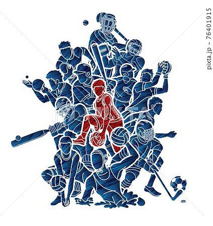 Sport Players Action Mix Cartoon Graphic Vector 76401915