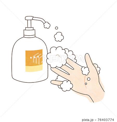 手洗い 泡ハンドソープ 右手 76403774