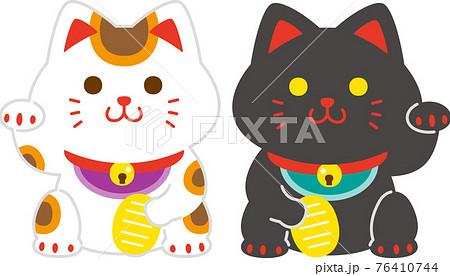 招き猫セット<三毛・黒> 76410744