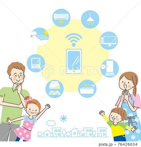 笑顔の家族と家電のアイコン 76426034