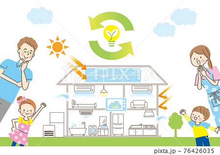 エコ住宅のイメージと笑顔の家族 76426035