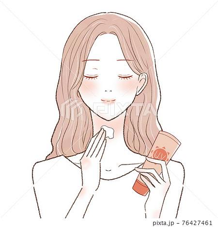 日焼け止めクリームを首に塗る女性 76427461