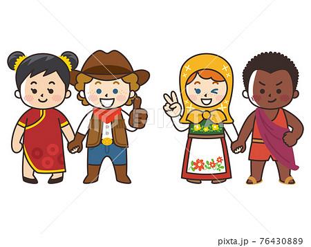 手を繋ぐ世界の子供たち 人種 国籍 平和 76430889