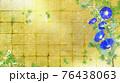 藍色の朝顔が咲く金屏風の背景の夏のイメージ 76438063