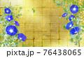 藍色の朝顔が咲く金屏風の背景の夏のイメージ 76438065