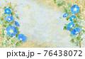 青い朝顔が咲く金色和紙の背景の夏のイメージ 76438072