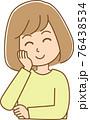 頬に手を当ててにっこりしている女性のイラスト 76438534