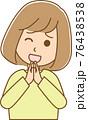 お願いごとをしている女性のイラスト 76438538