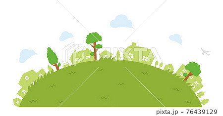 上から見た半円形の芝生の公園・原っぱ・遊び場 ベクターイラスト 76439129