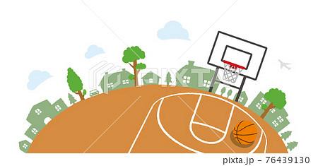 上から見た半円形のバスケットボールコート・公園・遊び場 ベクターイラスト 76439130