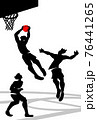 Vector illustration of basketball players in action in silhouette design. 76441265