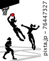 Vector illustration of women's basketball in silhouette design. 76447327