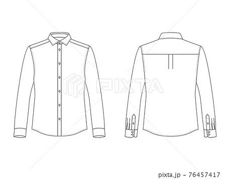 メンズ ワイドカラーシャツ ハンガーイラスト 76457417