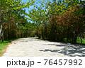 爽やかな青空と白い道 76457992