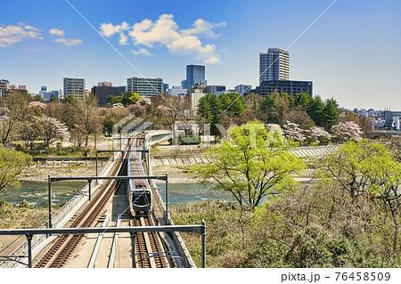 仙台市・仙台市地下鉄東西線と仙台市全景 76458509