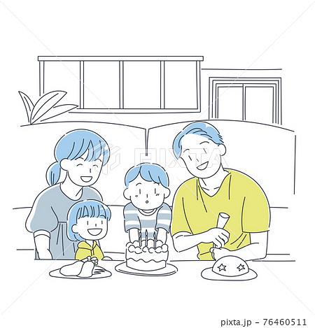 誕生日を祝う家族 76460511