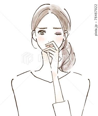 鼻炎 風邪 香りのトラブル 若い女性の人物イラスト 76467022