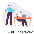Angry boss. Office manager yell at tired employee. Fight and scream in job team. Bad business leader, work stress and abuse vector concept 76470208