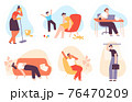 Tired people. Exhausted men and women with anxiety and stress. Depressed mother, bored office worker, sleepy and burnout person vector set 76470209
