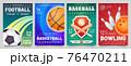 Sport games flyer. Basketball, baseball, football match and bowling tournament posters. Soccer, ball game event banner templates vector set 76470211