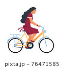 Woman on bike. Cartoon female character riding on bicycle. Profile view of young cute cyclist. Girl traveling around city on cycle and biking in park. Vector summer outdoor activity 76471585