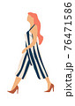 Woman walking. Cartoon young female character in striped jumpsuit and high-heeled shoes. Redhead girl going to work alone. Casual summer clothes, modern outfit. Vector illustration 76471586