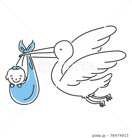線画人物アイコン コウノトリに運ばれる赤ちゃん 76474915