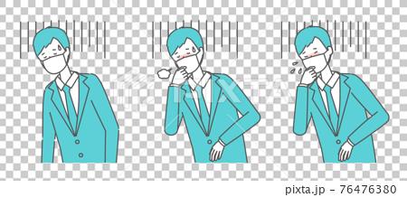 (体調不良・咳をする・くしゃみをする)マスクを着けたスーツの男性 76476380