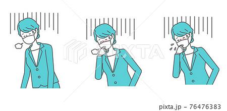 (体調不良・咳をする・くしゃみをする)マスクを着けたスーツの女性 76476383