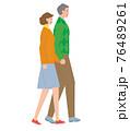 手をつないで歩くシニアの夫婦. ベクター素材 76489261