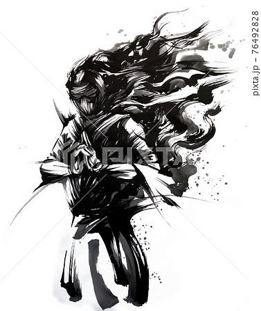 墨で描いた忍者のイラスト 76492828