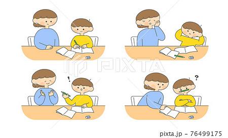 家庭学習をする息子を見守る母親セット 76499175