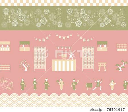 和風 夏祭りイメージ 素材集 76501917